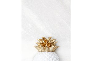 Gold & White Pineapple Stock Photo