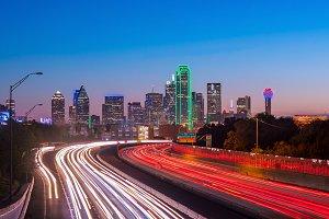 Dallas downtown skyline at twilight