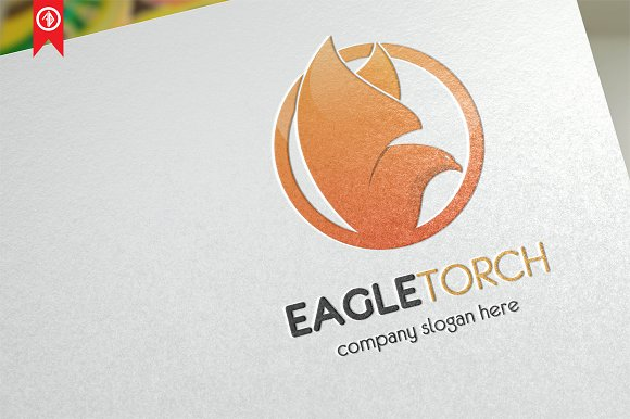 Eagle Torch Fire Logo Template