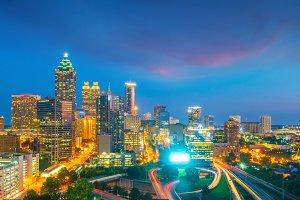 Skyline of Atlanta city at sunset