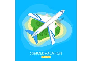Summer Vacation Flat Style Vector Web Banner