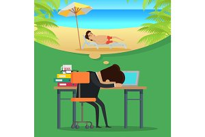 Dreams of vacation Vector Concept in Flat Design