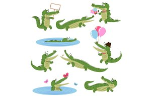 Crocodile Daily Activities Set. Cartoon Predator