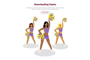 Cheerleading Teams Web Banner. Girls with Pompoms