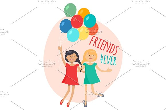 Happy Girls With Colorful Balloons Friends Forever