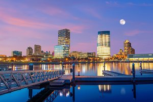 Milwaukee skyline at twilight