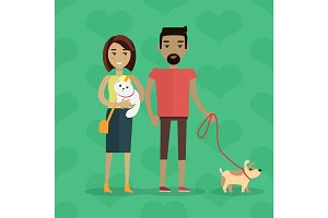 Walking with Pets Vector Concept in Flat Design
