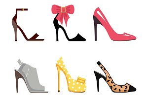 Female Footwear Set of Isolated illustrations
