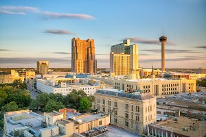 Top view of downtown San Antonio