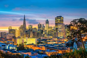 San Francisco in USA at dusk
