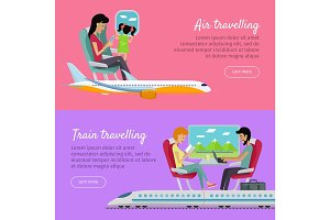 Air Traveling and Train Traveling Banners