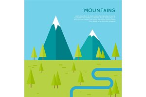 Mountains Vector Concept in Flat Style Design.