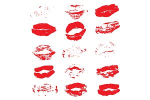 Lipstick Kiss Prints Isolated