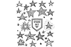 Hand Drawn Stars Set