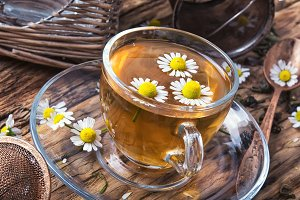 herb tea with chamomile flowers