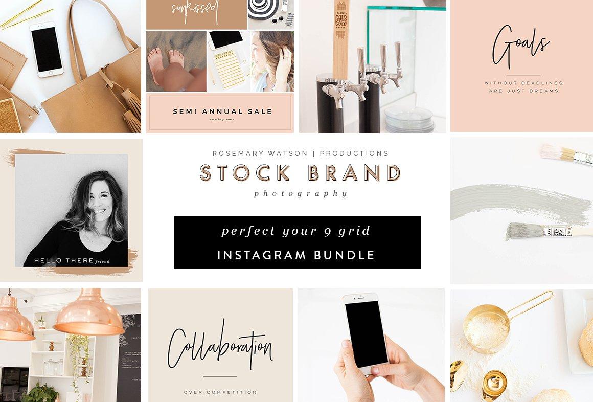Rose Gold 9 Grid Instagram Bundle ~ Instagram Templates ~ Creative ...