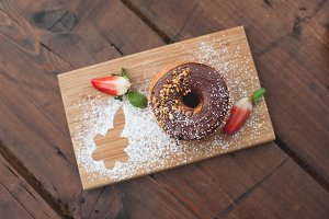 Chocolate Cronut with Strawberries