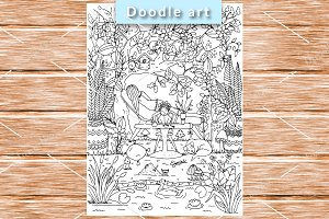 Mom and the kid. Coloring page