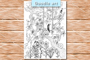 Girl on the swing coloring page