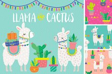 Llama & Cactus Clipart