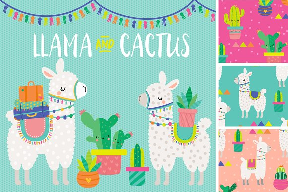 Llama Cactus Clipart