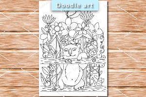Bear on the fence coloring page