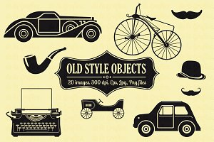 20 Old Style Objects Vector Set