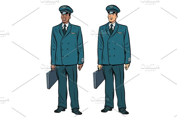 African And Caucasian The Pilots Of Civil Aviation