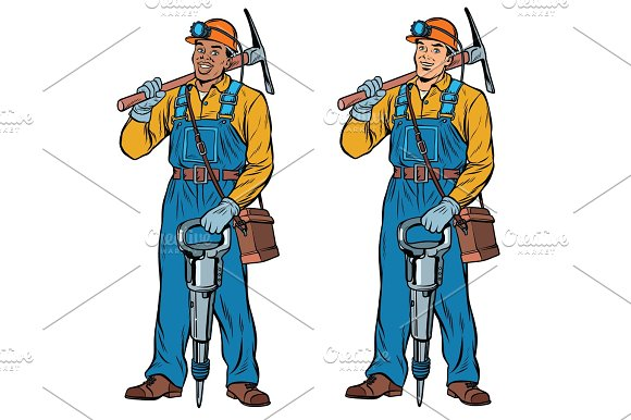 African And Caucasian Miners With Jackhammer Pickaxe