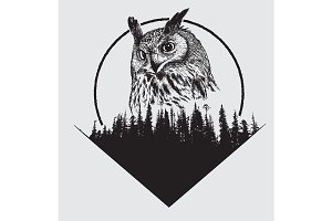 owl on forest silhouette background