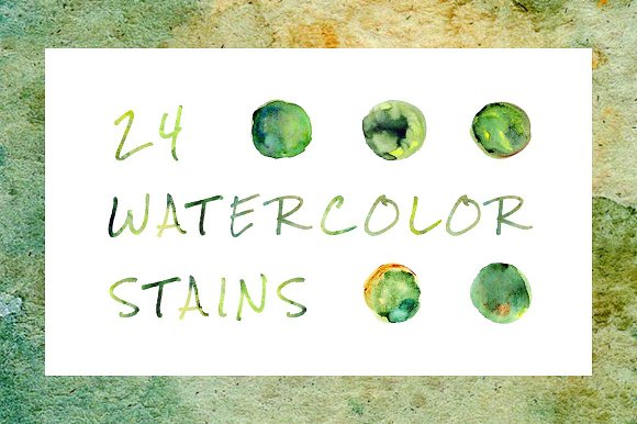 Green Watercolor Stains Collection
