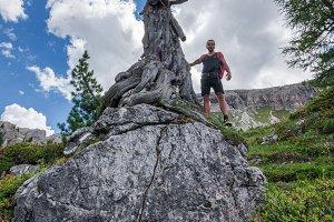 Male hiker exploring the Dolomites