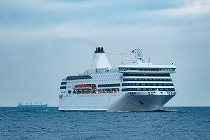 White passenger ship
