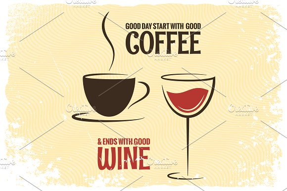 Coffee And Wine Logo Design Vintage