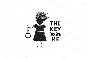 Girl with Key and Quote Sign Cartoon