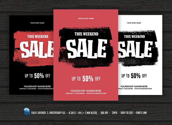 sale flyer poster flyer templates creative market