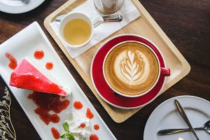 flat lay coffee cup and cake