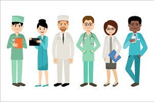 Set of doctors. Medical team