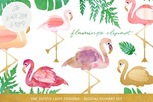 Flamingo & Tropical Leaf Clipart