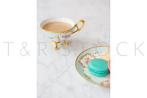 Macarons & Tea Cup Lifestyle Photo
