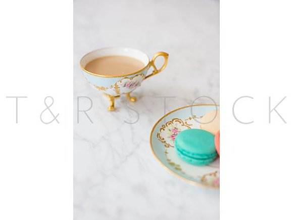 Macarons Tea Cup Lifestyle Photo