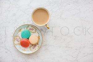 Macarons & Coffee Flat Lay Template