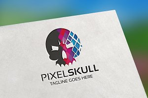Pixel Skull Logo