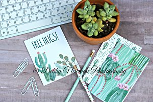 Desk Workspace & Cactus Notebooks -3
