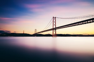 Red bridge in sunset, Lisbon