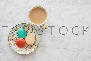 Macarons & Coffee on Marble Flat Lay