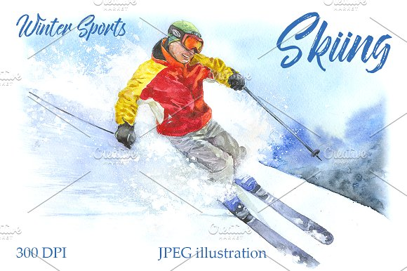 Watercolor Skiing Sport