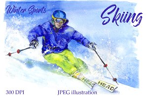 SALE! Watercolor skiing sport
