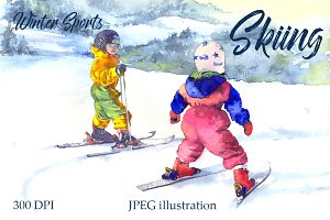 SALE! Watercolor skiing sport kids