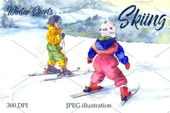 Watercolor Skiing Sport Kids